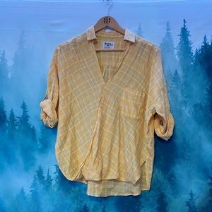 Anthropologie Holding Horses yellow plaid blouse